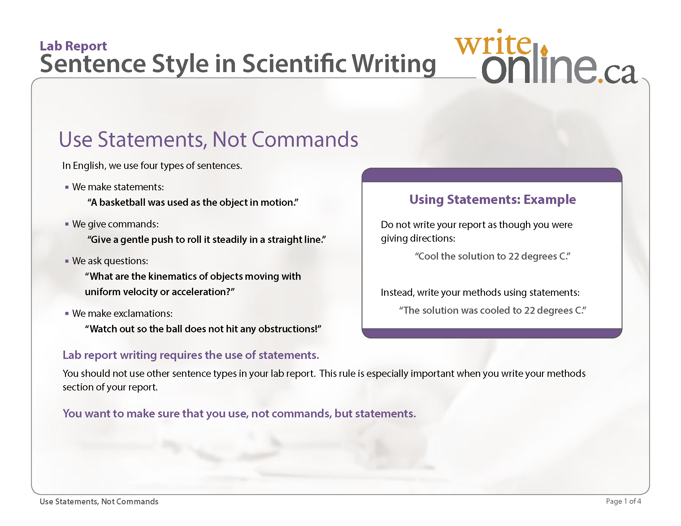 Writing Guide Write Online Lab Report Writing Guide Critical Features