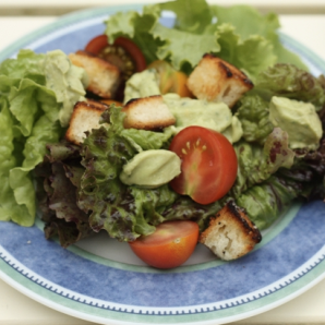 Salad with avocado dressing biscuit croutons #writes4food