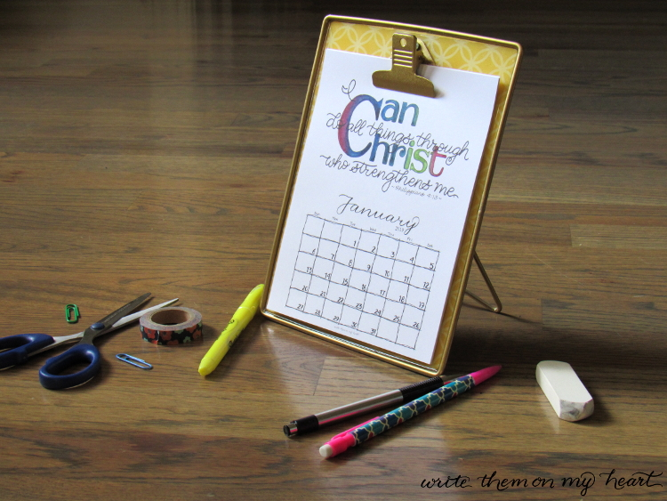 Two 2019 Christian Printable Wall Calendars - Write Them On My Heart