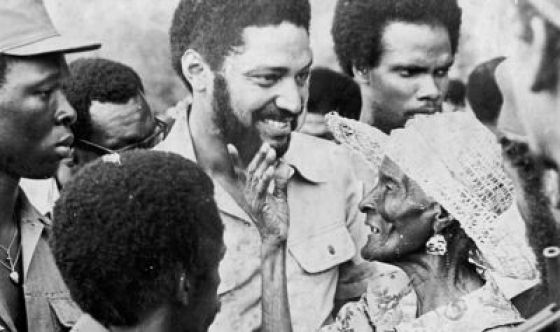 Maurice Bishop meets the Grenadian people, in a still from Bruce Paddington's film Forward Ever.