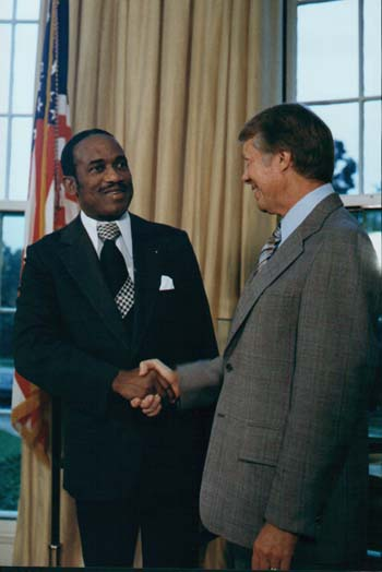 Eric Gairy Prime Minister Eric Gairy of Grenada and President Jimmy Carter meet in the White House on September 9, 1977.