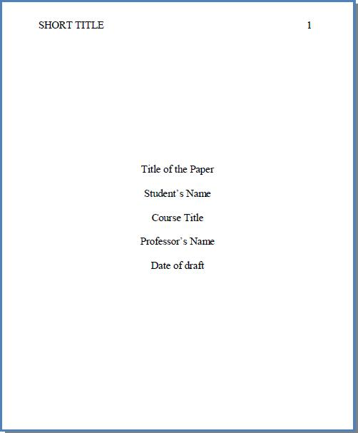 Sample Research Paper With Cover Page