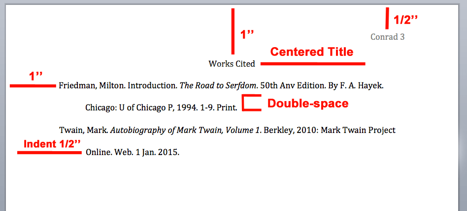 mla works cited layout