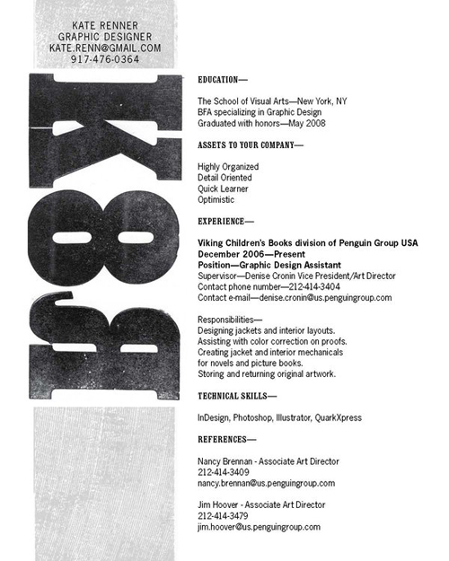Eye-catching resumes (Blog 13) Writing On the Visual Arts, Summer 2013