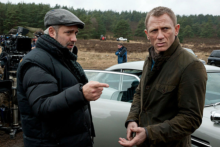 Director Sam Mendes and Daniel Craig on the set of Spectre