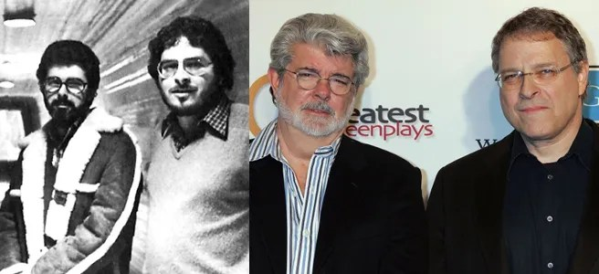Lawrence Kasdan and George Lucas. Then and now