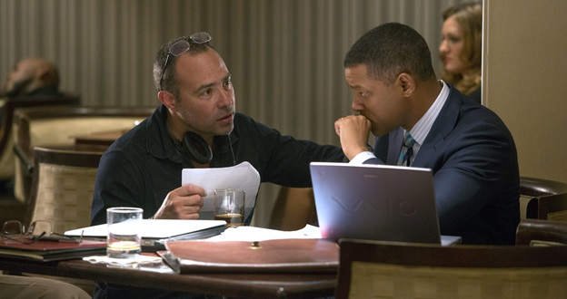 "Director Peter Landesman, left, and Will Smith on set of Columbia Pictures' ""Concussion."""