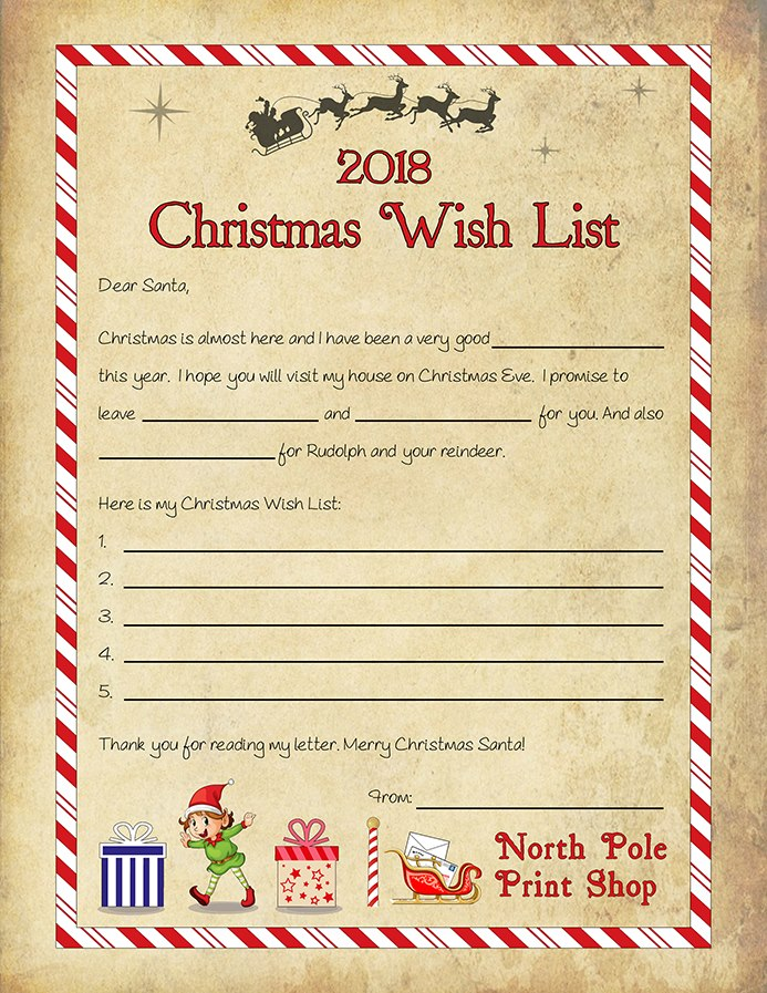 Written By Santa FREE Christmas Wish List Template - christmas wish list paper