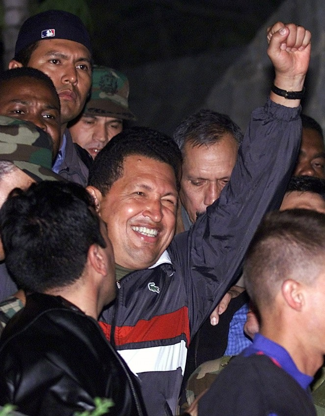 PRESIDENT CHAVEZ RETURNS TO THE PRESIDENTIAL PALACE IN CARACAS.