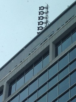 WTMD's new broadcast tower and antenna high above Towson City Center.