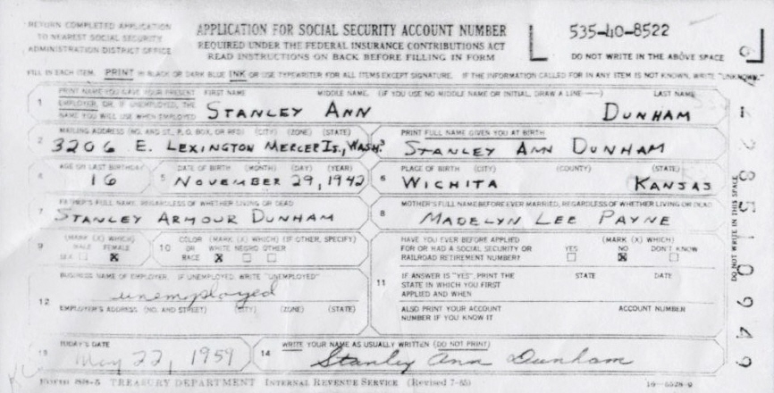 Obama\u0027s Mama Had a Fraudulent Social Security Number Too! We the