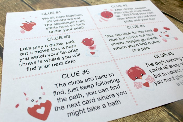 Valentine\u0027s Day Scavenger Hunt for Kids with Printable Clues