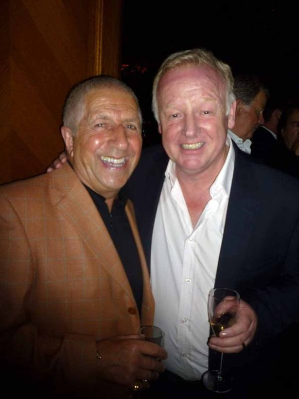 Pete Price with Les Dennis at Cilla Black's 70th birthday party in Tramp, London