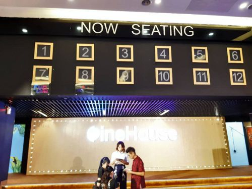 Find out if your hall is ready for your movie at the'Now Seating' indicator.