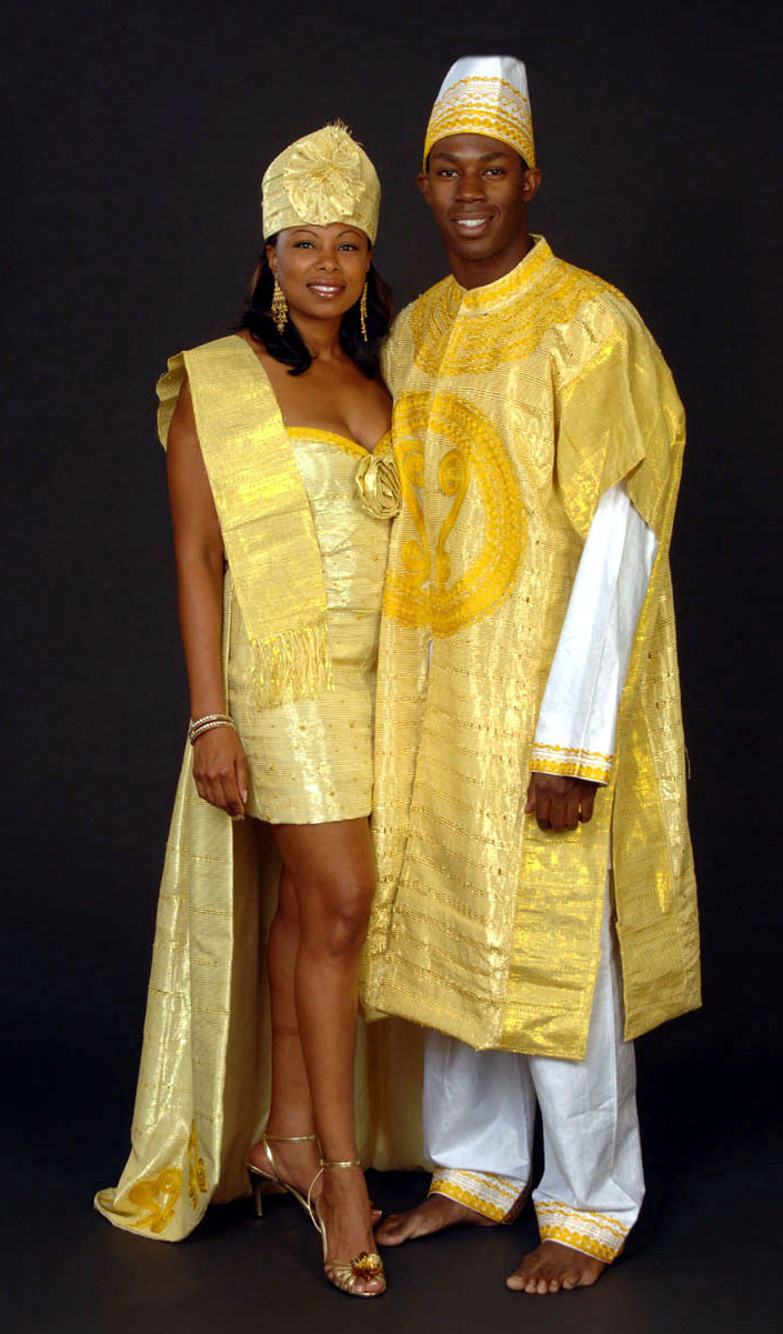 prweb african wedding dress Gold aso ake wedding dress and groom s suitHand woven aso ake fabric imported from West Africa is used to make this sexy designer bustier dress