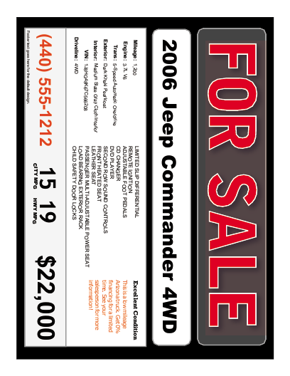 car for sale sign template free