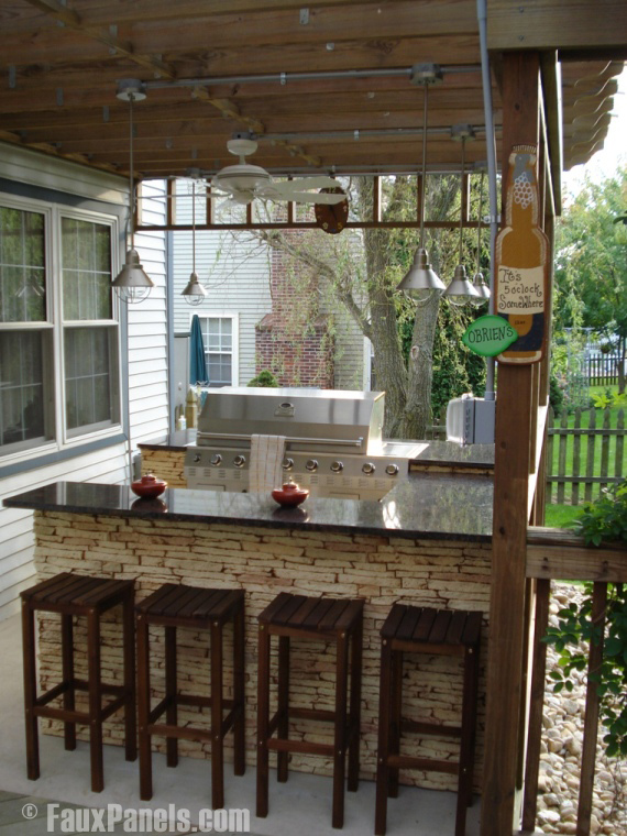 Portable Islands For Small Kitchens Enhance Summer Outdoor Living With Stone Veneer Accents