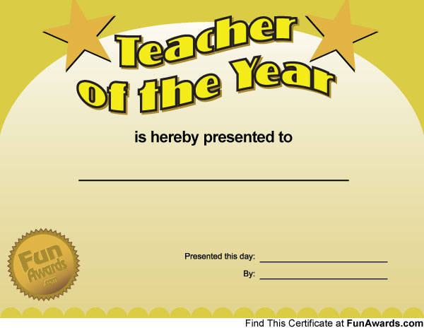 Funny Teacher Awards \u2013 Printable Award Certificates for Teachers