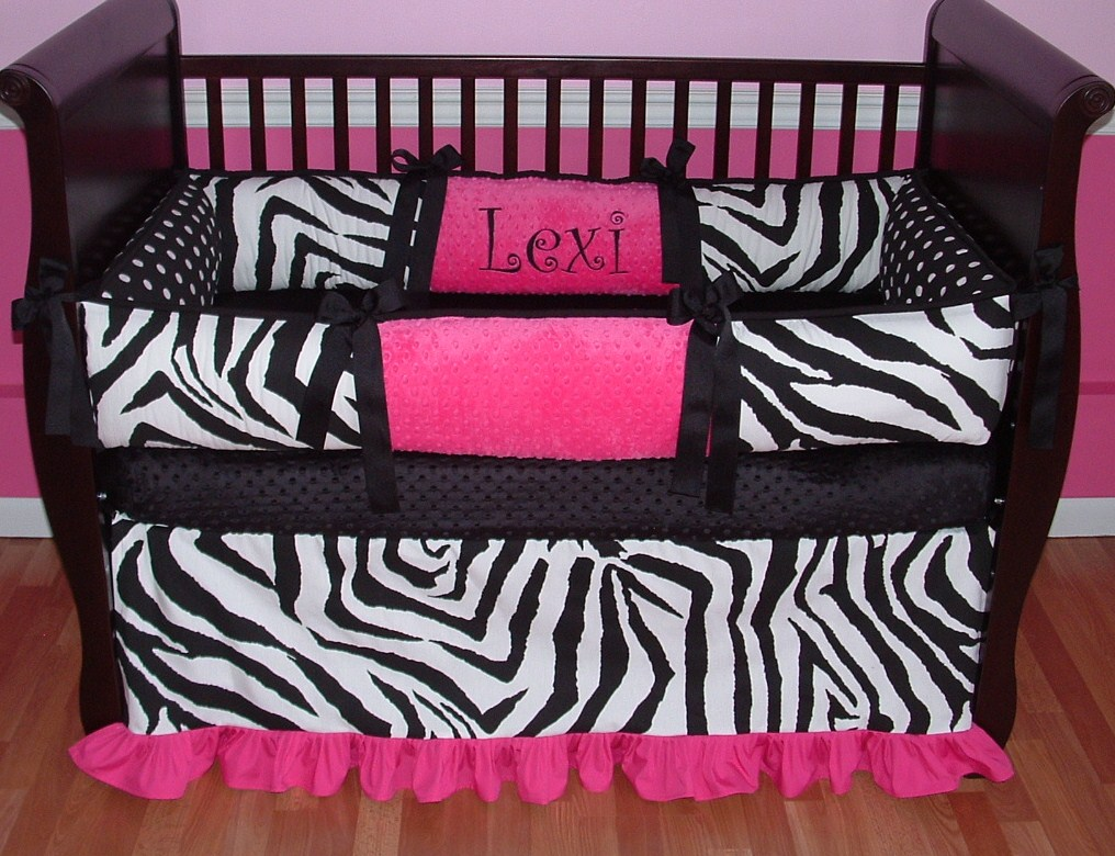 Lexi zebra pink black and white girl baby bedding boy baby bedding crib sets custom girl baby bedding