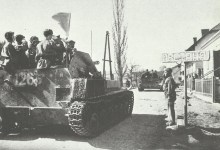 Russian tanks cross the Hungarian-Austrian border.
