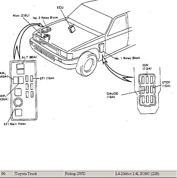 diagrama de cableado 1994 toyota pickup efi