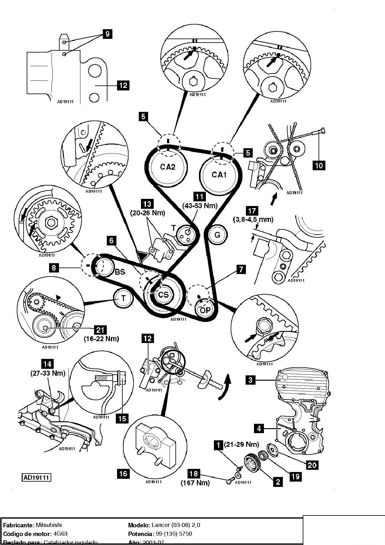 diagrama de motor mitsubishi lancer 2002