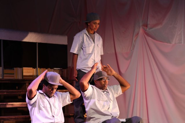 Isiah Thompson, Tristan Cunningham and Tommy James Shepherd in Chasing Mehserle; photo: Joan Osato.