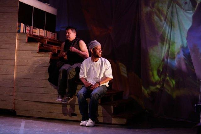 Dan Wolf and Michael Wayne Turner III in Chasing Mehserle; photo: Eli Jacobs-Fantauzzi.