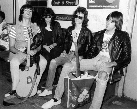 """Ramones on Subway, ""NYC. 1975. By Bob Gruen (American, born 1945)."