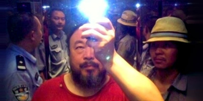 Ai Weiwei in the elevator when taken into custody by the police, Sichuan, China, 2009; Courtesy the artist