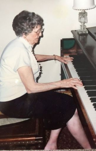 """""""We all know people within our own families who've been great musicians,"""" regardless of whether they're pro, says Michael Zwiebach of San Francisco Classical Voice. Here's his great aunt, Birdie Engle, playing the piano on her 90th birthday. She sang at the Metropolitan Opera in the 1910s, before she got married."""