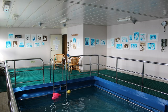 "The artist's ""studio"" on board the container ship, with works on display."
