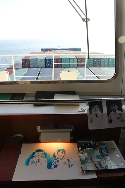 Working on portraits while on board the container ship.