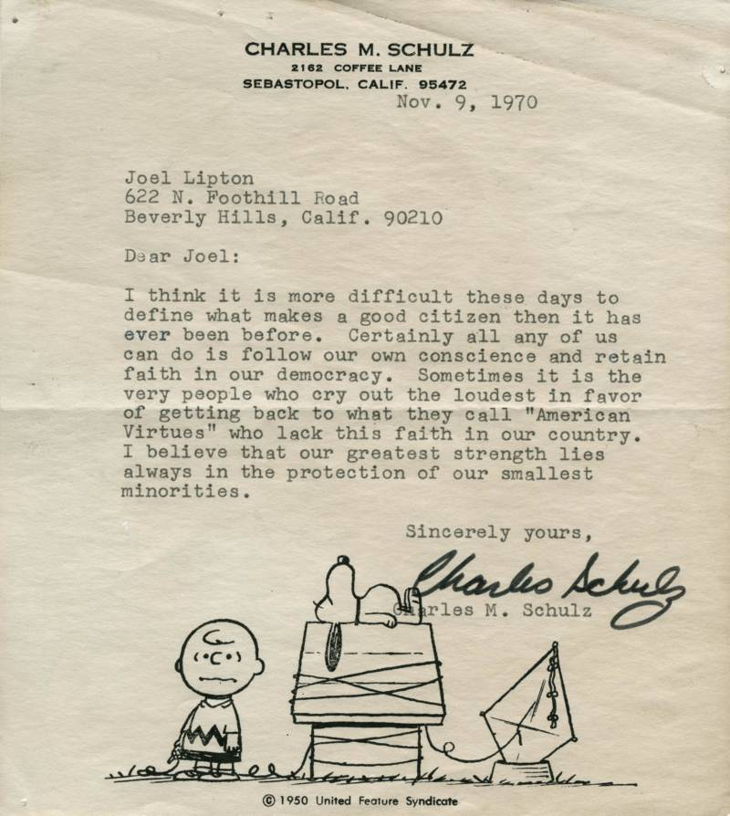 Charles Schulz\u0027s Letter About Democracy, Discovered 50 Years Later
