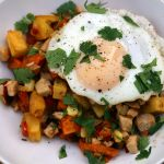 Thanksgiving Leftovers: Morning-After Turkey Breakfast Hash with Sweet Potatoes, Roasted Peppers (and a Fried Egg!)
