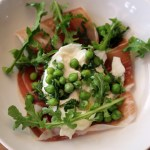 Memorial Day Salad with Burrata, Fresh Peas, Mint, Speck and Arugula