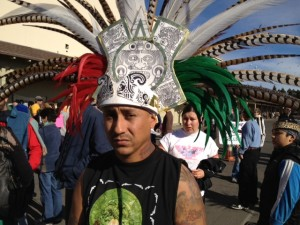 People performed traditional Aztec dances as part of the protest. (Photo by: Mina Kim/KQED)