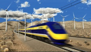 A drawing of high-speed rail going through Central Valley courtesy of the California High-Speed Rail Authority.
