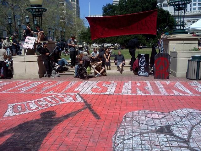 A chalk drawing at Oakland's Frank Ogawa Plaza on May 1, 2012.