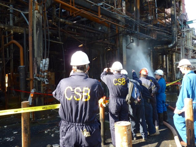 The U.S. Chemical Safety Board released this photo of the aftermath of the Chevron refinery fire in Richmond. Photo by Fototaker.net.