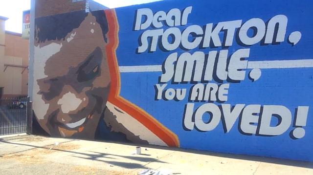 A new mural in downtown Stockton. Screenshot courtesy of Benjamin Saffold.