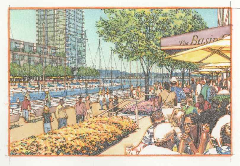 An artist's conception of street scenes in the completed project. (Signature Development Group)