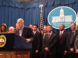 Governor Jerry Brown defends his education funding plan at a Capitol press conference. (Scott Detrow/KQED)