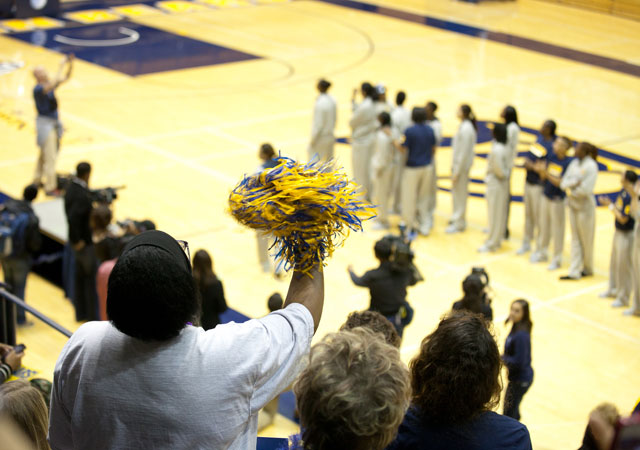 Hundreds of Cal Bears fans rallied at Haas Pavillion Thursday to send off the women's basketball team, who are headed to New Orleans for the NCAA Final Four. It's the first time the team has made it to the Final Four. (Deborah Svoboda/KQED)
