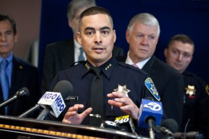 Anthony Toribio, acting Oakland Police Chief talks at a press conference to release the Oakland Crime Reduction Project Bratton Group Findings and Recommendations. (Deborah Svoboda/KQED)