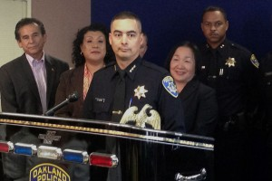 Assistant Chief Anthony Toribio (center) is taking command of the police department during a nationwide search. (Francesca Segre/KQED)