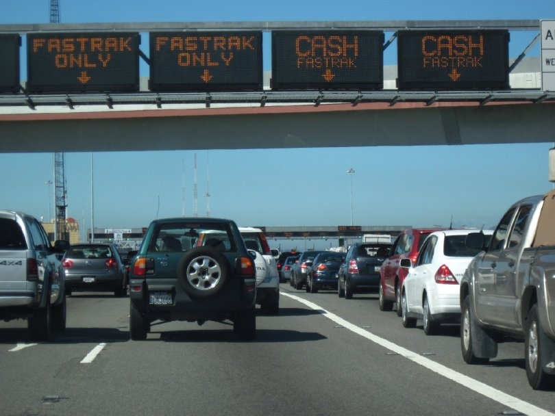 Cars line up at the Bay Bridge toll plaza.  Craig Miller/KQED