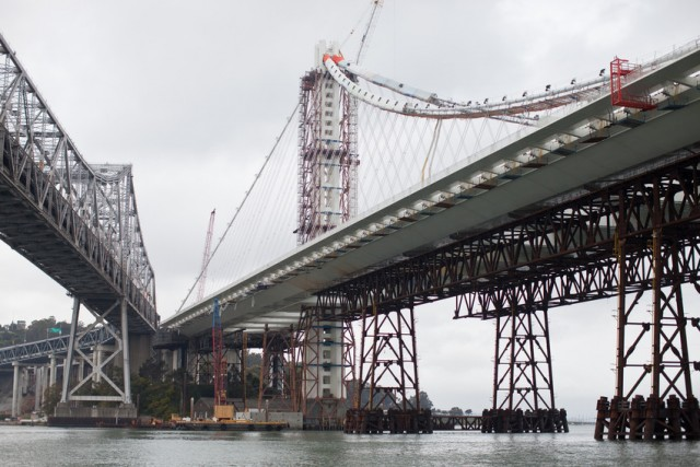 The old and new eastern spans of the Bay Bridge. (Deborah Svoboda/KQED)