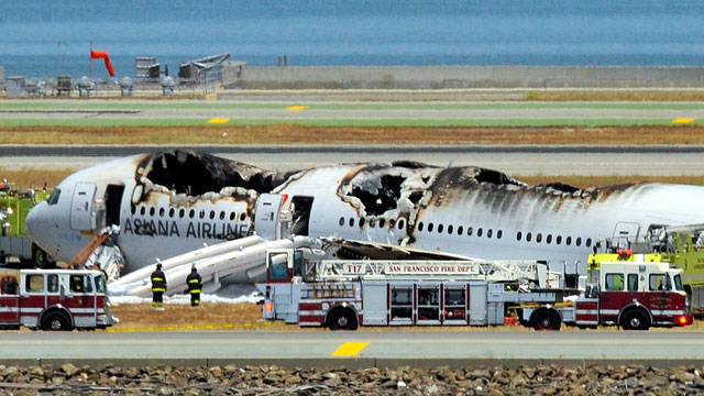 The Asiana Airlines jet that crashed at San Francisco International Airport in July. (Photo by Ezra Shaw/Getty Images)