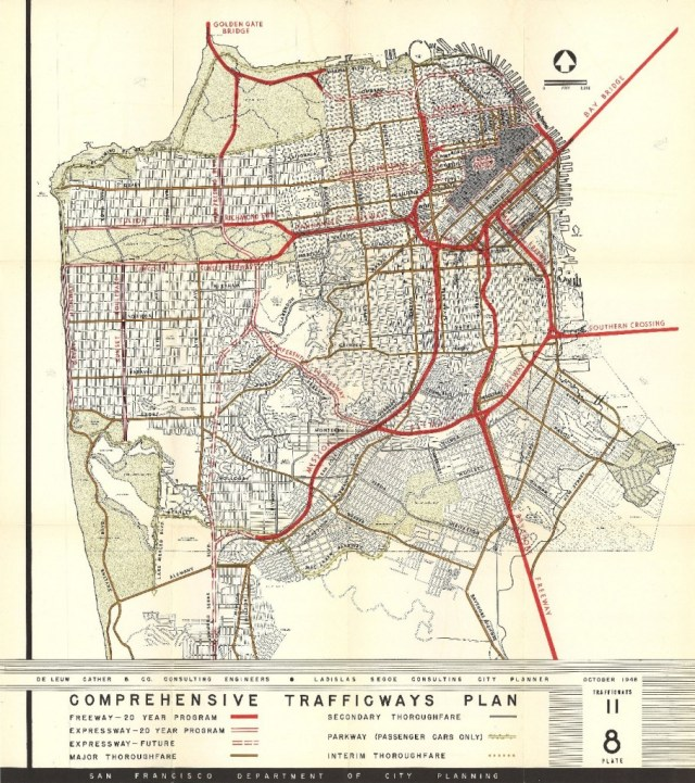A 1948 San Francisco Planning Department map proposes 10 freeways to crisscross the city. (Eric Fischer/Flickr)